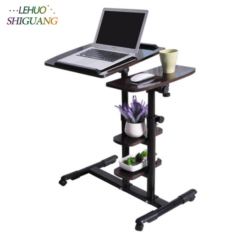 beweglichen Computer Schreibtisch für Wohnzimmer Holz Sofa Seite Nachttisch mit Rädern Schlafzimmer
