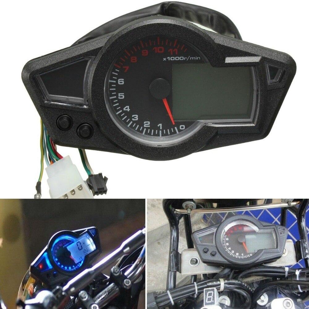 Motorcycle LCD Speedometer Motorcycle Digital Odometer Speedometer Tachometer Fit for 2&4 Cylinders