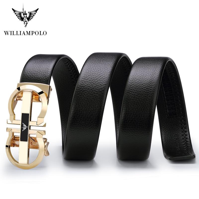 Image 3 - Williampolo Luxury Brand Designer Leather Mens Genuine Leather Strap Automatic Buckle Waist Belt Gold Belt PL18335 36P SMTMens Belts   -
