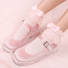 Японские новые кружевные большие кружевные носки с бантом, Украшенные бусинами, хлопковые носки в стиле Лолиты для девочек