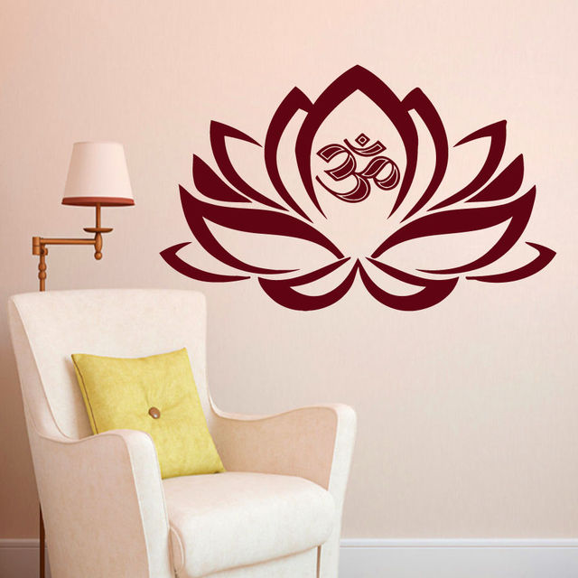 Wall Decals Lotus Flower Om Decal Vinyl Sticker Yoga Studio Bedroom