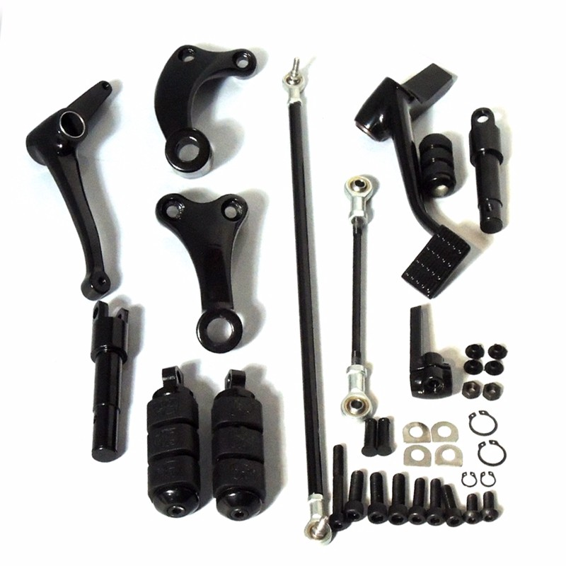 Motorcycle Parts Black Forward Controls Complete Kit with Pegs Levers Linkages For Harley Sportster 1200 883 2004-2013 2005 2006 (10)