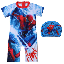 New childrens clothing handsome new boy big conjoined short-sleeved printing cartoon spiderman swimsuit