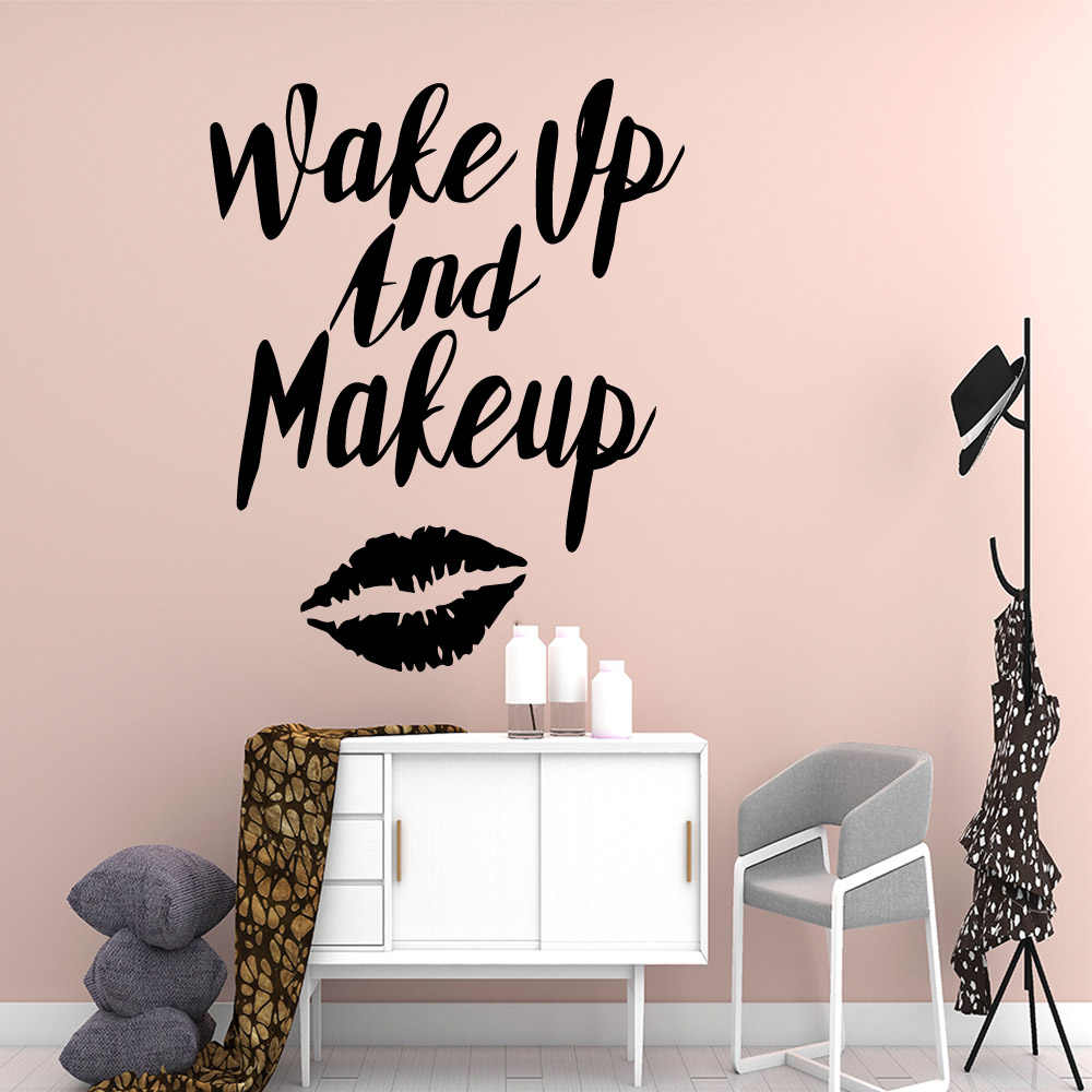 Creative Make Up Vinyl Wall Decal Beauty Salon Stickers For Girl Room Decor  Art Decal Bedroom Poster Sticker Make Up Dekoracja