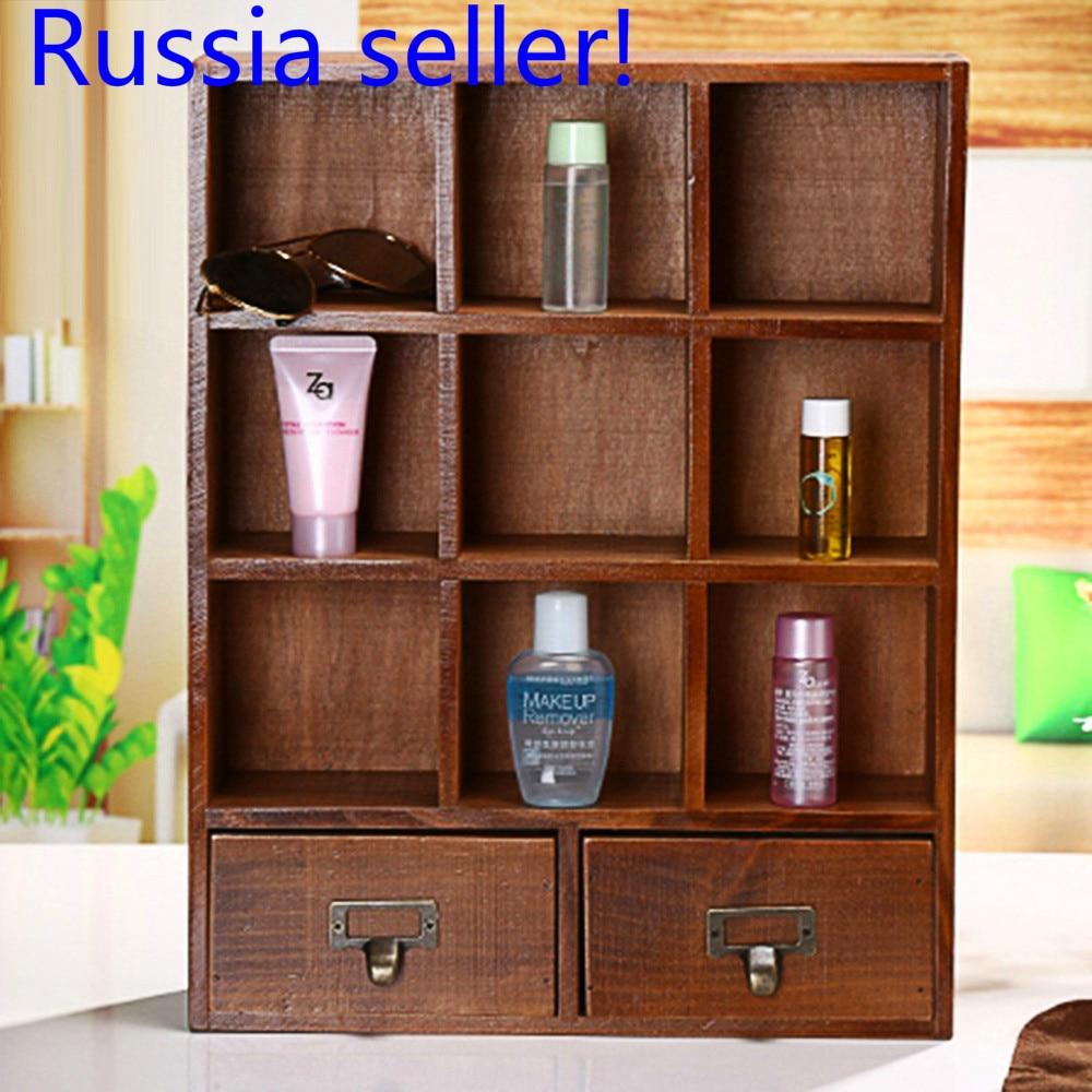 Russia seller! Wooden Desktop Storage box DIY Multi-Functional Desk Stationery Organizer Storage Box Pen Pencil Box Holder