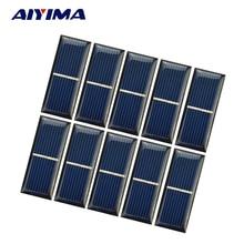 AIYIMA 10pcs Epoxy Solar Panel Solar Cell 0.5V 220mA Photovoltaic Panel Sun power Module DIY Solar Battery Car Charger 55*22*3mm