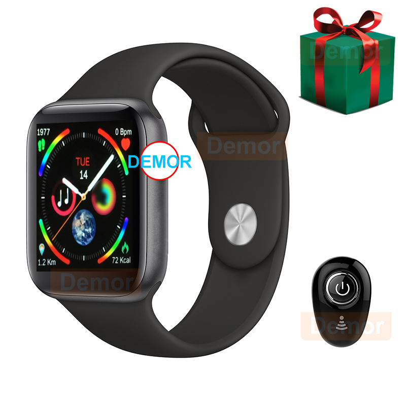 DEMOR IWO 9 44mm GPS Smart Watch Series 4 Heart Rate Monitor Smartwatch For Apple IOS IPhone Headset Android Phone Earphone Gift