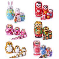 1 Set Nesting Dolls Color Painted Russian Matryoshka Doll Handmade Crafts Kids Early Learning Education Toy