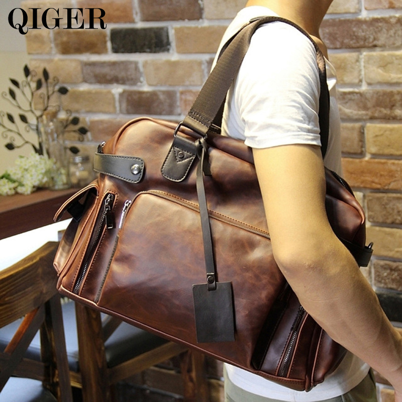 High Quality Vintage Leather Men Messenger Bags Large Capacity Travel Bags Brown Crossbody Shoulder Bags Handbags Briefcases