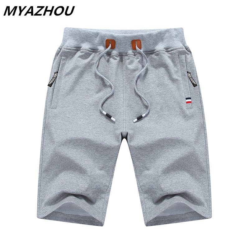 Zip Pocket Shorts Solid Color Summer Stretch Casual Seven Points Shorts Large Size Cotton Comfortable Breathable Sports Shorts
