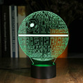 Nueva ledertek atmósfera romántica ilusión 3d star wars death star night led light multicolor cambio touch botton escritorio lámpara