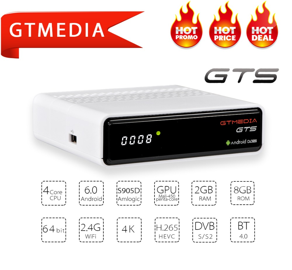Décodeur GTmedia freesat DVB-S2 Android 6.0 Smart TV Box S905d Quad Core 2 GB 8 GB GTS 4 K lecteur multimédia dvb s2 Wifi BT4.0 cccam iptv