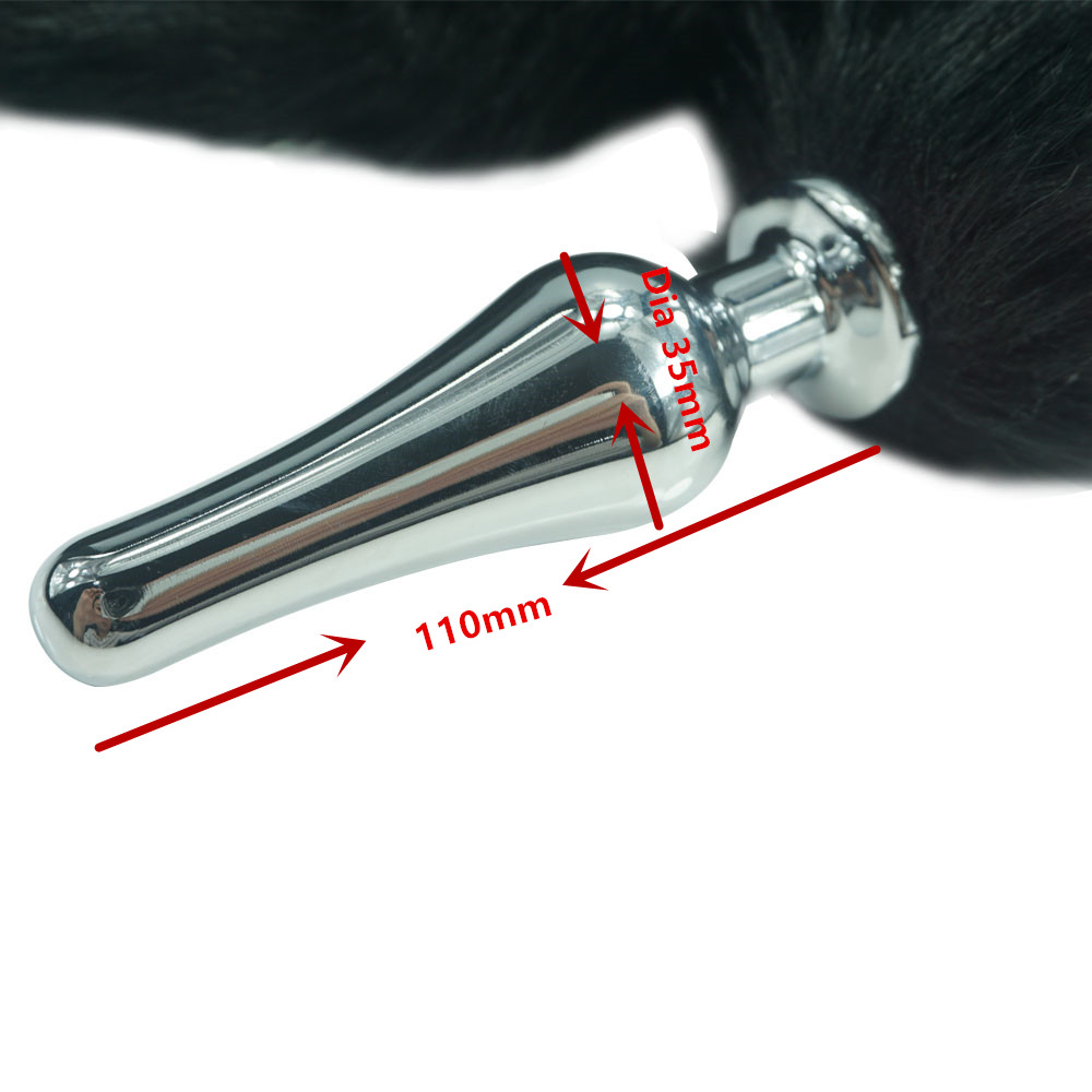 New black white color 78cm length fox Tail Dia 35mm Large Anal Plug Metal Butt plug Role Play Flirting Fetish sex Toy for Women