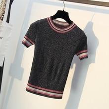 Glitter Knitted Women T Shirt Summer Tshirt Breathable Short Sleeves Top High Elasticity Striped Female T-Shirt