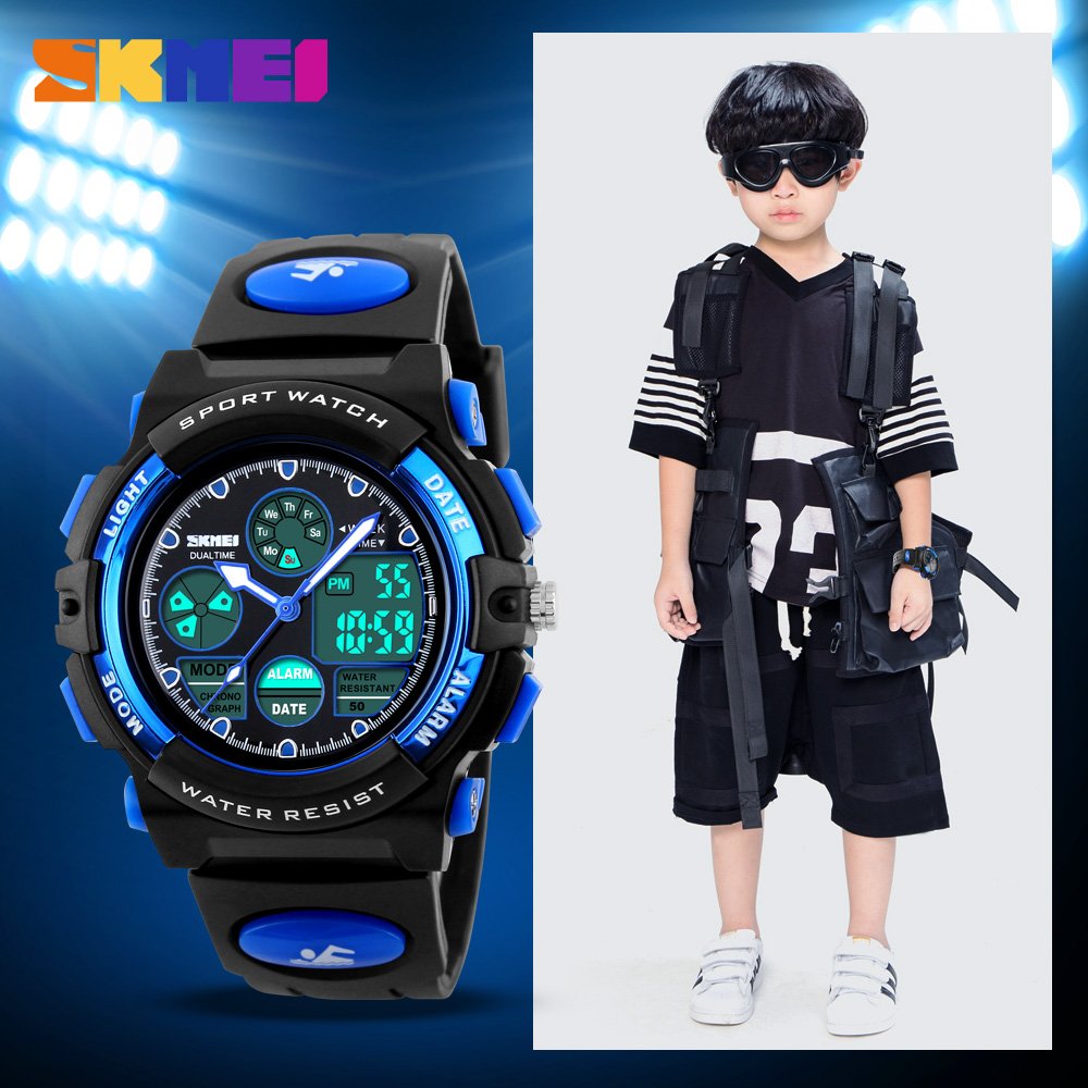 SKMEI Sports Watches Children LED DIgital 50M Waterproof Dual Display Wristwatches Watch Alarm For Boys Girls Kids 1163