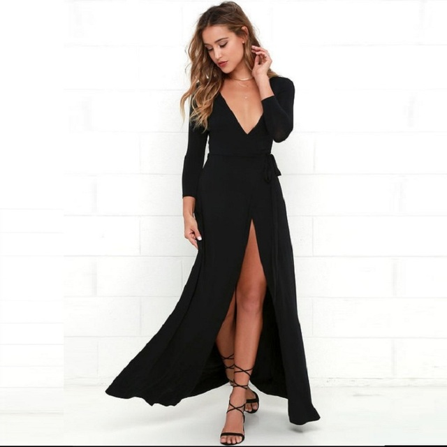 Women s clothes Tall woman s clothes 2018 dresses for women Sexy deep v-neck  slits Knit long-sleeved dress Irregular dress 57e4ea4ab