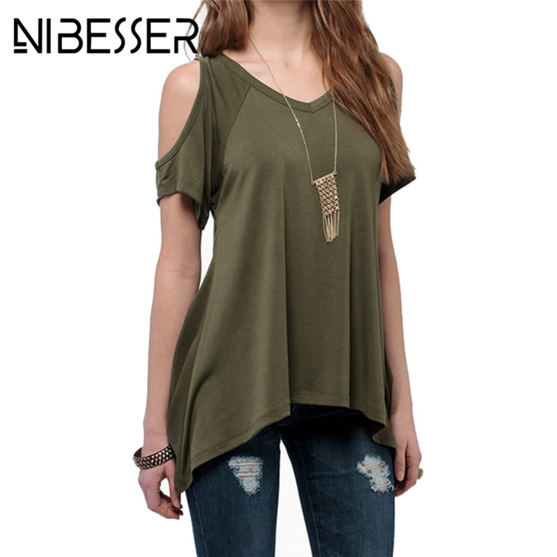 NIBESSER Plus Size 5XL 3XL T Shirt Women Summer 2018 Short Sleeve V Neck Tops&Tees Womens Sexy Clothing Casual Solid T-shirt