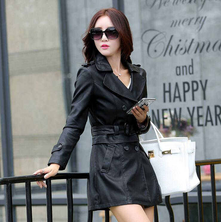 b7b7fad0708ed 2018 Autumn Winter Long Leather Jacket Women Plus Size Black Slim Soft  Leather Trench Coat Leather ...