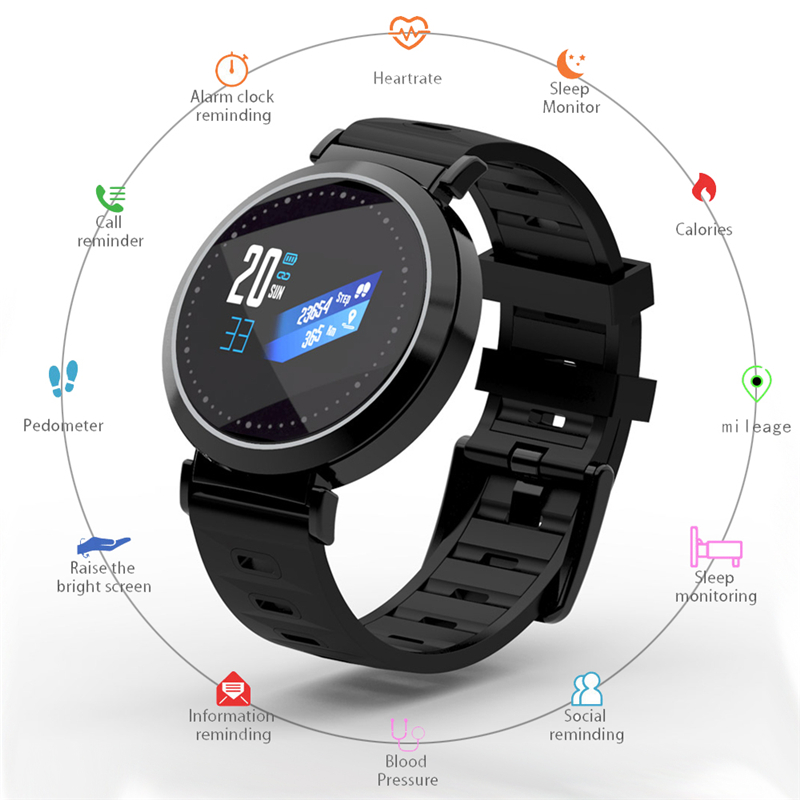 Sport Watch Men Women IP67 Waterproof Color Screen Smart Watch Heart Rate Monitor Blood Pressure Fitness