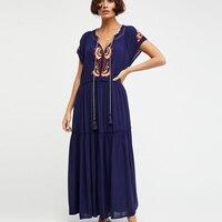V Neck Colorful Embroidery Bohemian Maxi Dress Women Tassel Short Sleeve Summer Casual Beach Dresses Vestidos