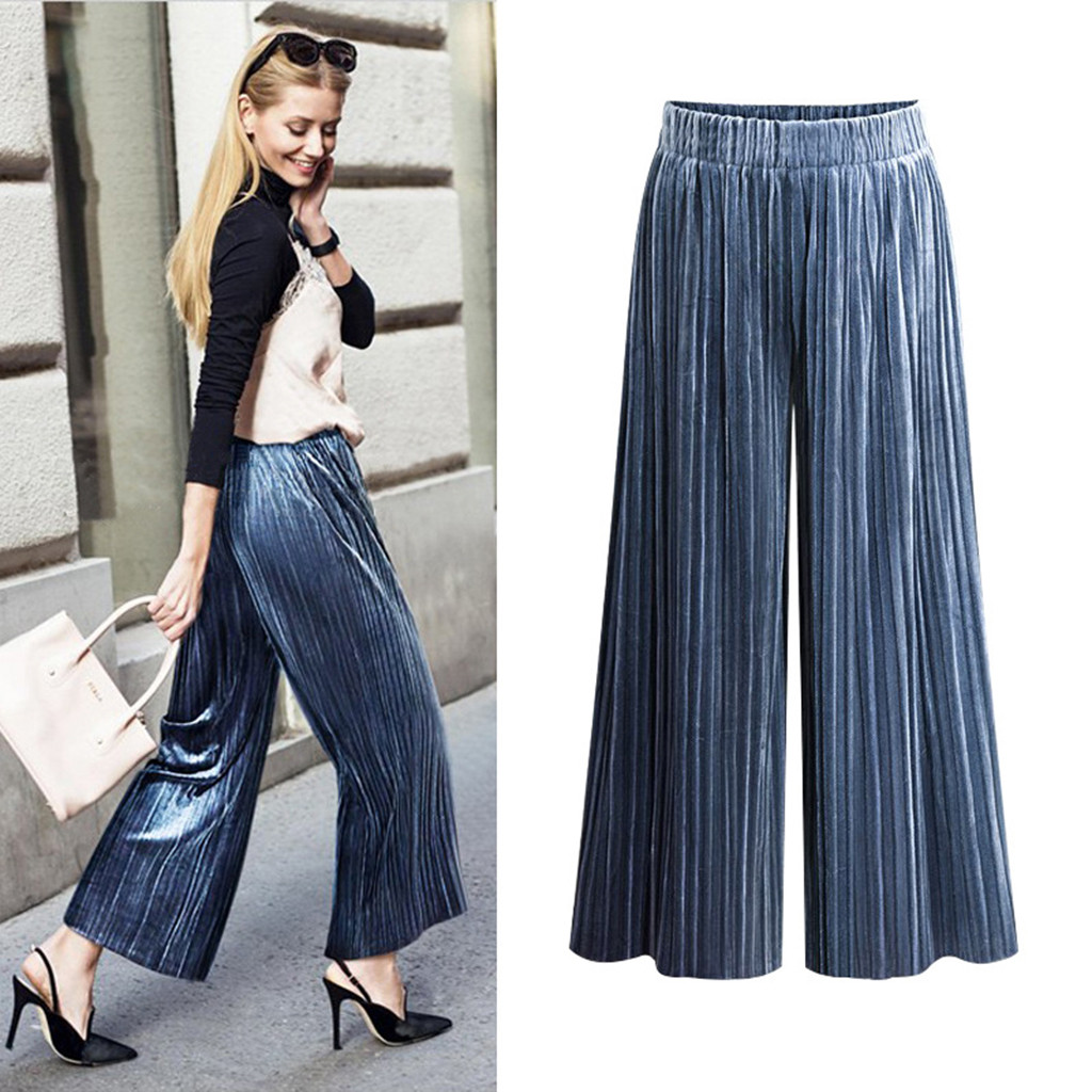 Casual Womens Elastic Waist Cropped Trousers Bottoms Sports Wear Plus Size Pants Female Pleated Wide-leg Pants Polyester YJ