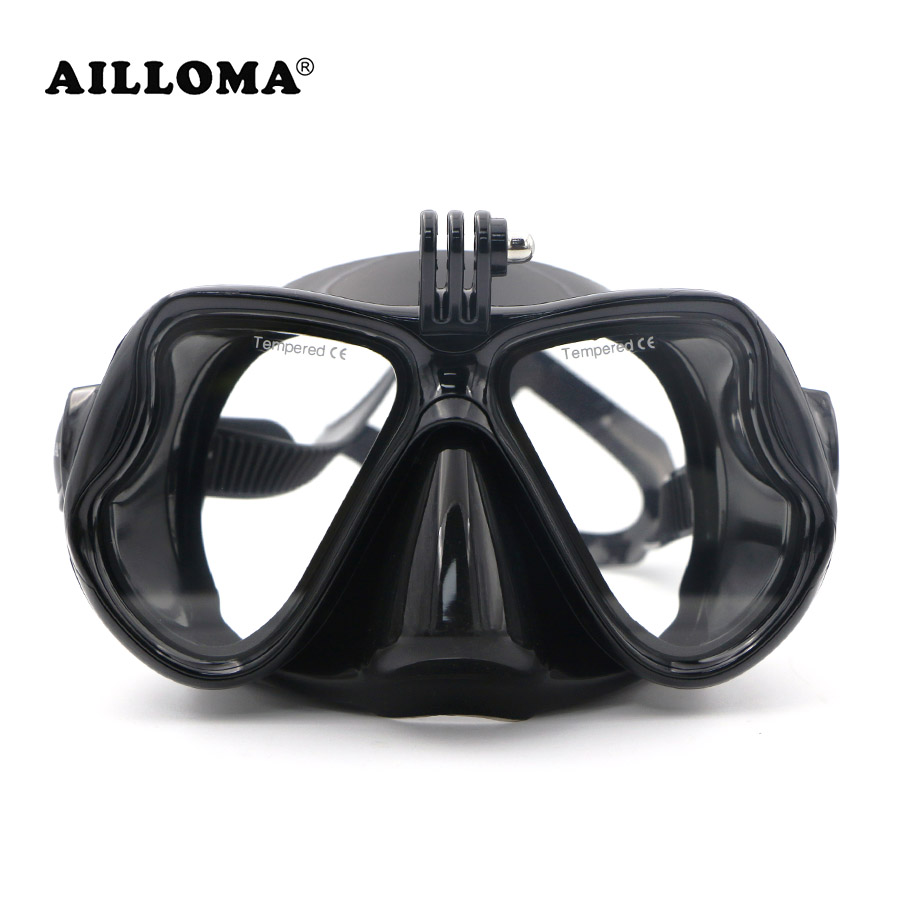 AILLOMA Rimless Diving Mask Camera Stand Wide View Underwater Sports Equipment Dive Snorkel Anti-Fog Silicone Swimming Masks diving equipment