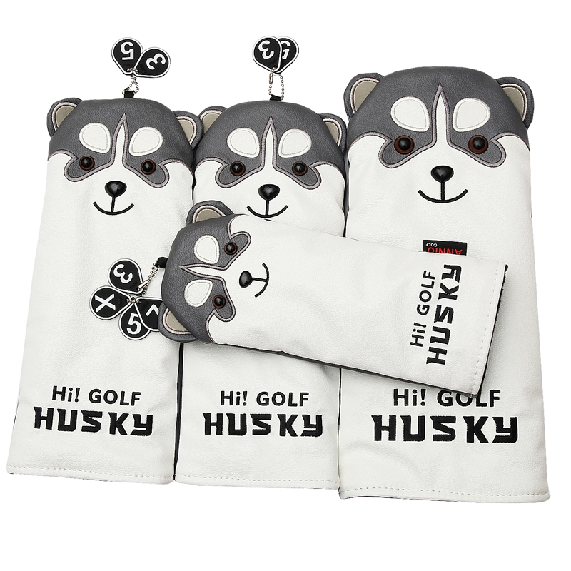 Lovely Husky Golf Driver Head Cover Cartoon Animal #1 #3 #5 #7 Woods PU Leather HeadCover Dustproof Covers