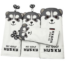Mooie Husky Golf Driver Head Cover Cartoon Animal #1 #3 #5 #7 Woods Pu Lederen Headcover stofdicht Covers(China)