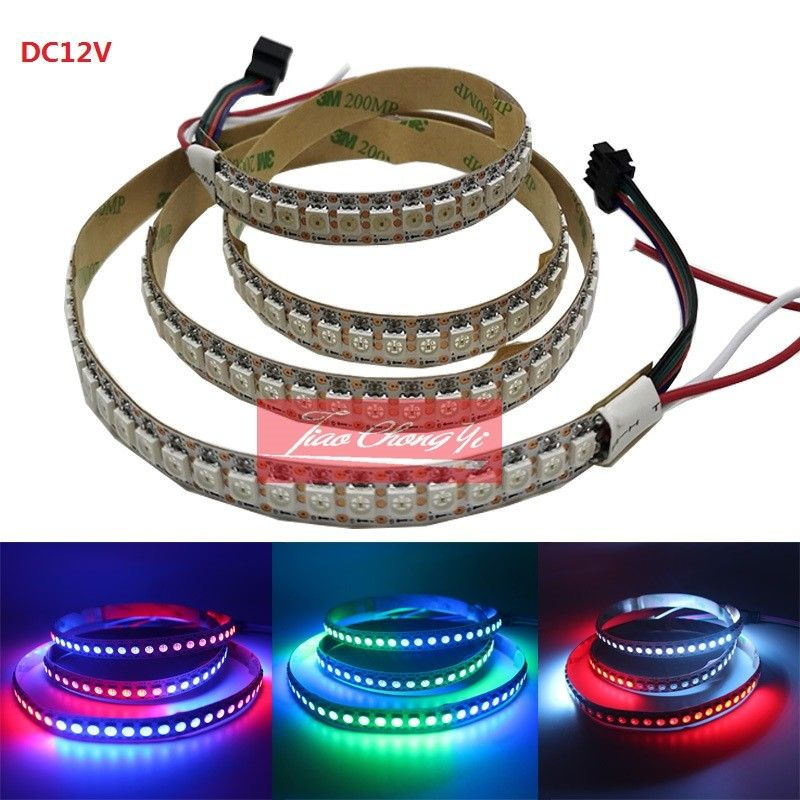 DC12V 8208 IC 5050 1M 144LED RGB LED strip light Addressable white PCB IP20 NEW
