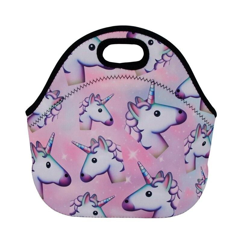 Купить с кэшбэком Jom Tokoy Unicorns Thermal Insulated 3d print Lunch Bags for Women Kids Thermal Bag Lunch Box Food Picnic Bags Tote Handbag