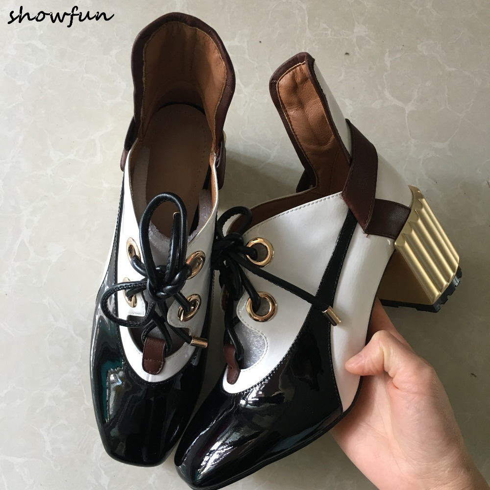 Women's genuine patent leather mix color lace-up pumps brand designer retro vintage comfortable thick high heeled shoes women