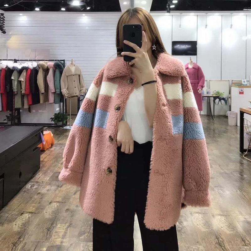 Nova moda preço real casaco de pele 2019 mulheres de inverno estilo do Teste padrão longo parka verdadeira pele gola turn dwon jaqueta casacos cor de rosa - 5