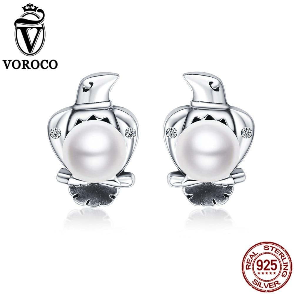 VOROCO Stud-Earrings Fine-Jewelry 925-Sterling-Silver Natural-Freshwater-Pearl Women