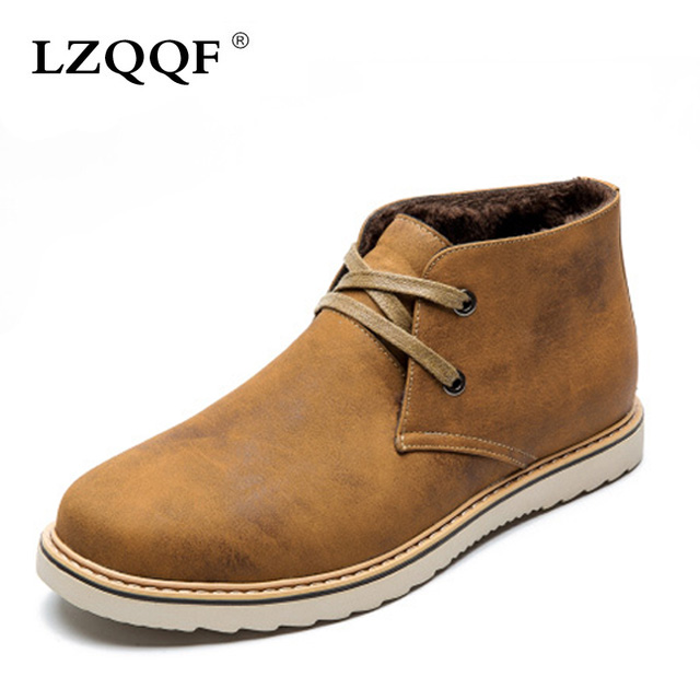 2016 fashion winter casual boots Flat man shoes Breathable genuine leather Boots botas ankle warm snow - chenfeng Store store