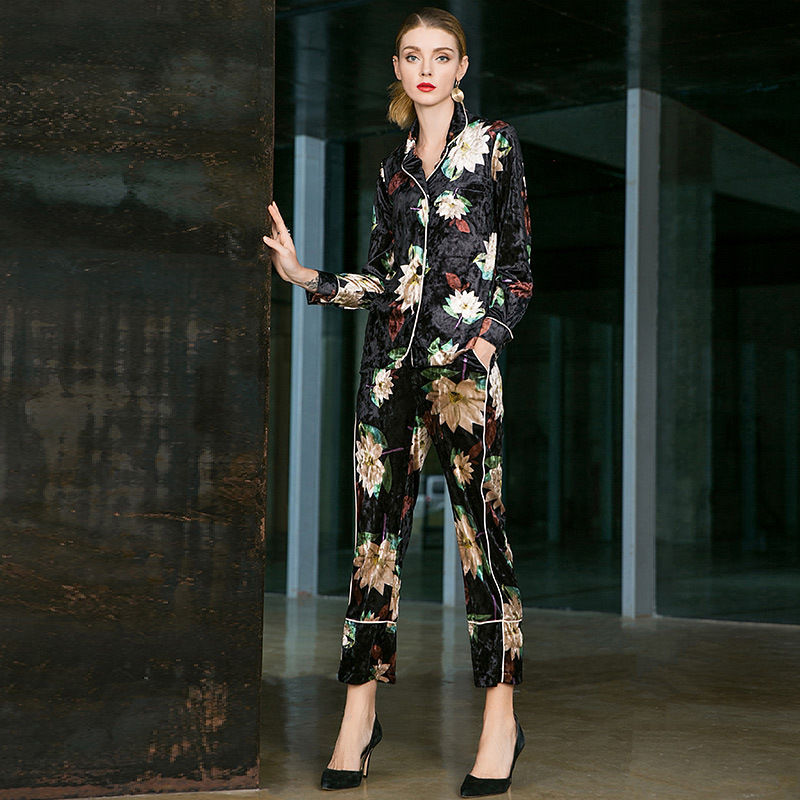 Velvet Print Single Breasted Shirts And Straight Ankle Length Pants 2 Piece Pants Suits 2018  New Women Autumn Casual Suits