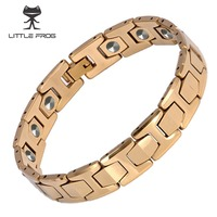 LITTLE FROG 15 PCS 99 9999 Germanium Bracelet Men Chain Link Health Energy Magnetic Tungsten Steel