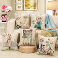Cartoon Girls Home Decor Cushion Cute Girl and  Sweet Life Linen Cotton Pillow  Home Decorative Sofa Throw Pillows