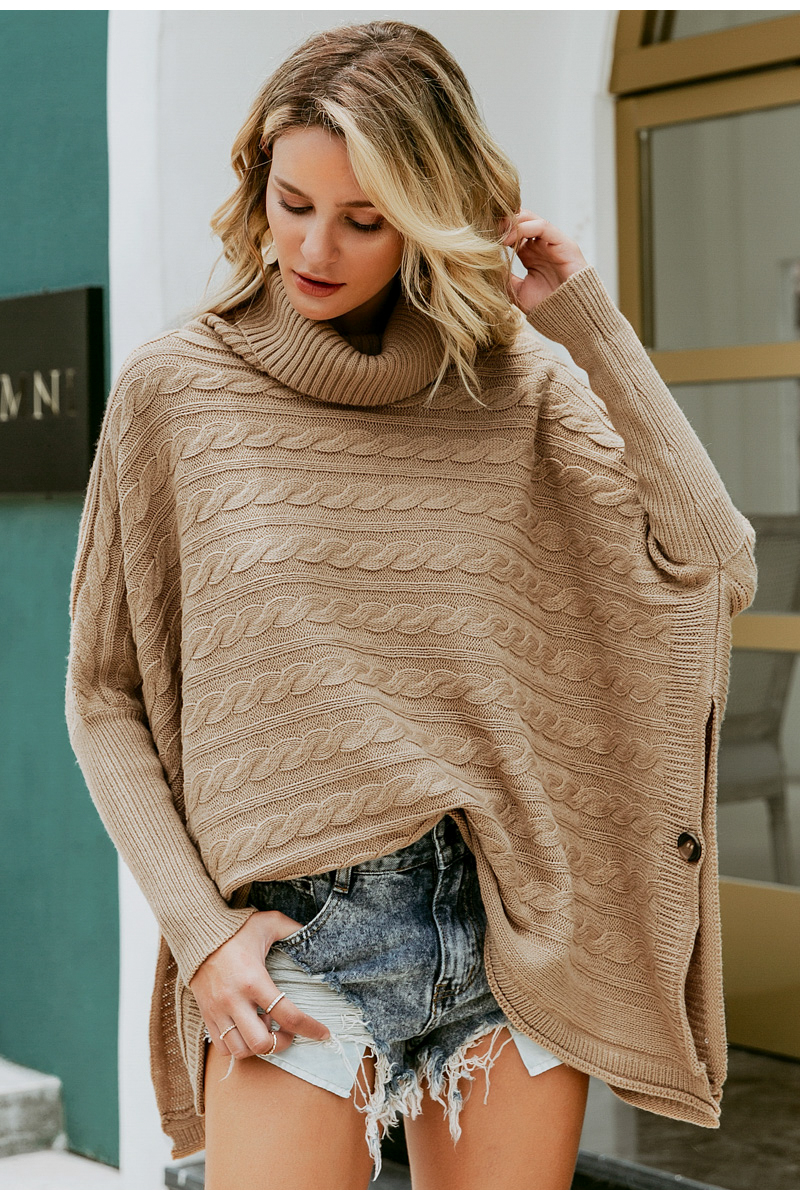 Simplee Turtlneck knitted women cloak sweater Bat sleeve autumn winter female pullover sweater Side split camel ladies jumper 3