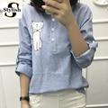 Blusa femenina de algodón de lino 2017 nueva raya del verano dulce de la historieta del bordado camisetas de manga larga mujeres tops ladies clothing