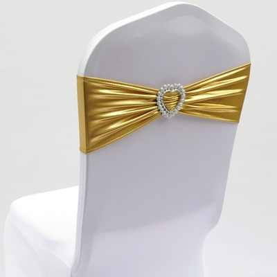 Shiny metallic gold colour Spandex Bands lycra sash for Chair Covers Sash With Heart Shape Buckle Wedding decoration wholesale