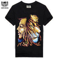 Bob Marley 2015 Reggae Music Rock And Roll Music 3 D Printing Design Cotton T Shirt