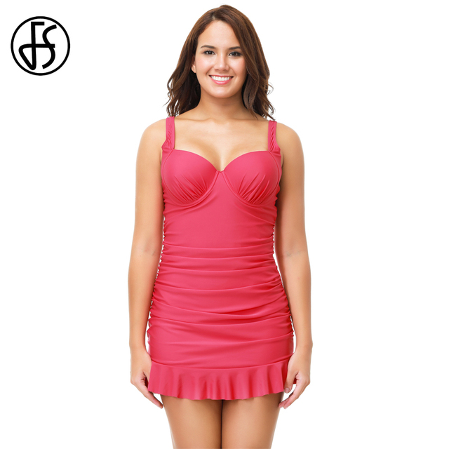 fs one piece swimsuit women plus size push up maillot de bain femmes swimdress rose solid color