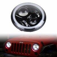 El más nuevo Diseño led Montaje de la linterna de 7 pulgadas 50 W Con Multicolor RGB Angel eye de Halo APP Bluetooth Remoto para Jeep Wrangler JK