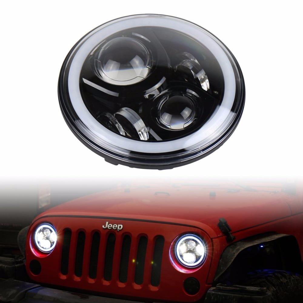 Новый дизайн светодиодные фары сборки 7-дюймовый 50W с Многоцветной с RGB гало глаза Ангела приложения Bluetooth пульт дистанционного управления для Jeep Вранглер JK