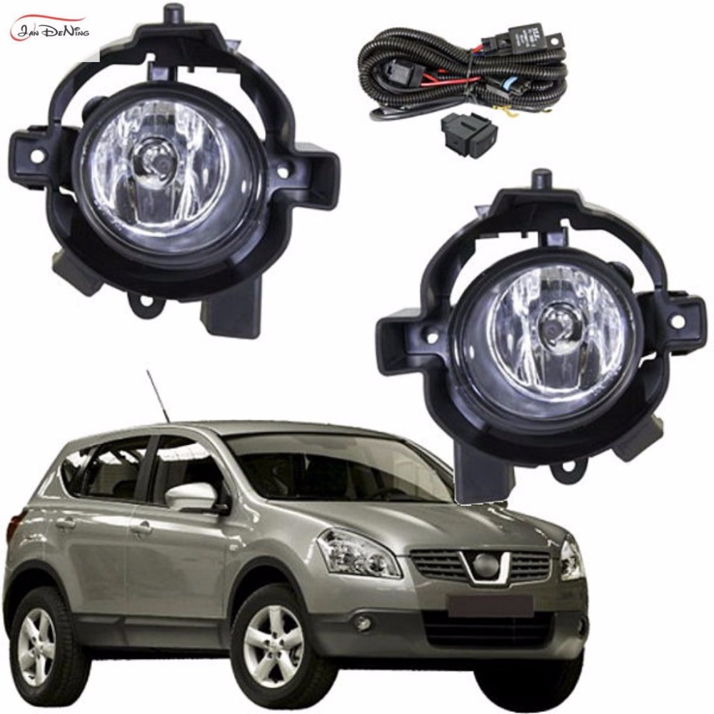 JanDeNing Car Fog Lights For Nissan Qashqai 2008 ~ 2010 Clear Front Bumper Fog Lamp Replace Assembly kit(one Pair) car fog lights lamp for mitsubishi triton 2 door 2009 on clear lens pair set wiring kit fog light set free shipping
