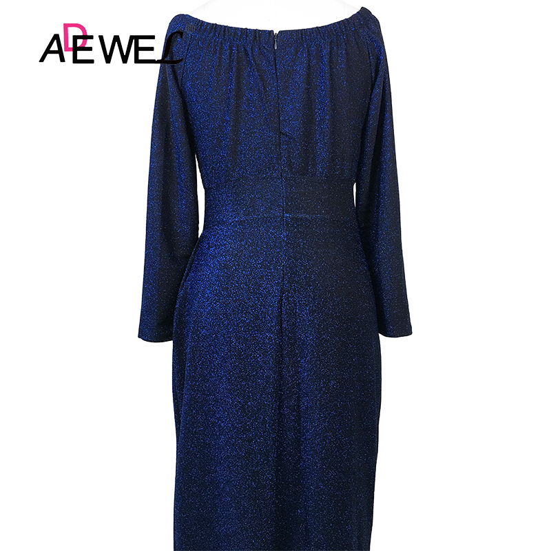 ADEWEL Sexy Glitter Off Shoulder Party Long Dress Women Formal Glittering Long Sleeve Bodycon Maxi Dress Evening Gowns Dresses in Dresses from Women 39 s Clothing
