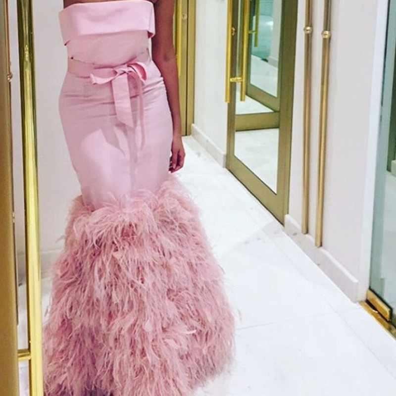 Elegante Arabisch 2021 Sexy Federn Abendkleid Rosa Meerjungfrau Lange Prom Kleid Vestido De Formatura Besondere Anlasse Kleid Evening Dress Pink Evening Dressspecial Occasion Dresses Aliexpress