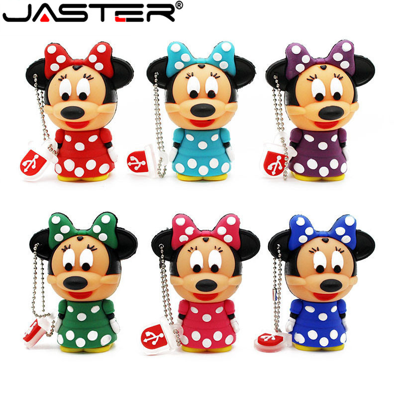 JASTER  The New Cute Minnie Mouse USB Flash Drive USB 2.0 Pen Drive Minions Memory Stick Pendrive 4GB 8GB 16GB 32GB 64GB Gift