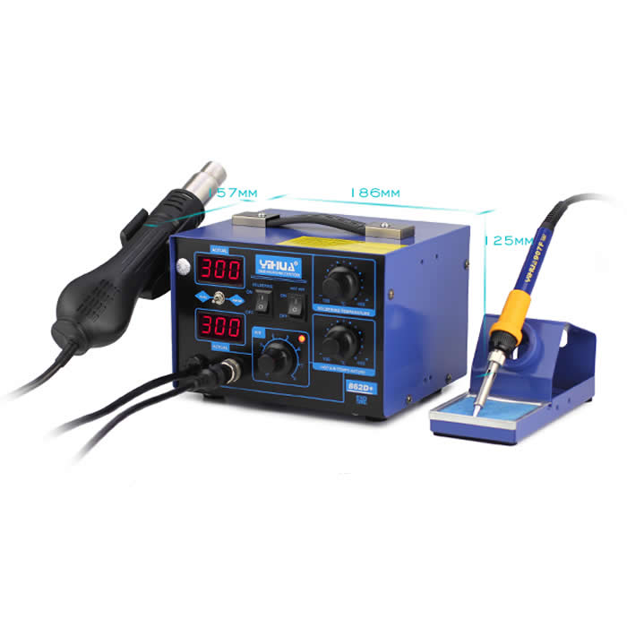 YIHUA 862D+ Dual Digital Rework Station Hot Air Gun + Soldering Iron 2 in 1