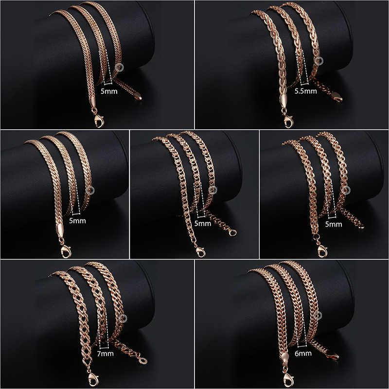 Das mulheres dos homens Colares 7 pçs/lote 585 Rose Gold Curb Chains Colar de Tecelagem para As Mulheres Homens Moda de Jóias Por Atacado 50cm CNN1A